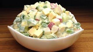 Легкий салат из редиса и огурцов! Невероятно вкусно, быстро и просто!