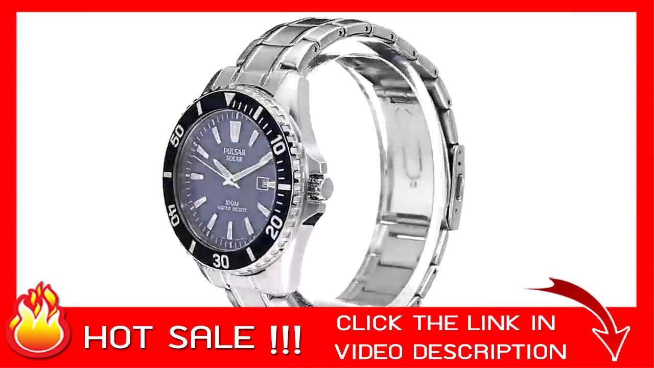 c5f9ad86e Pulsar PX3067 Men's Solar Sport Silvertone Blue Dial Watch - YouTube
