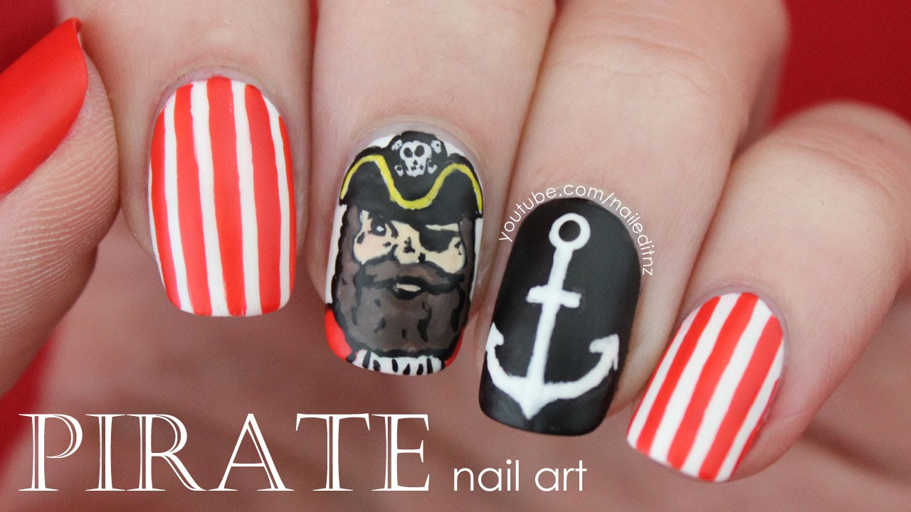 PIRATE Nail Art | Nautical Nails - YouTube