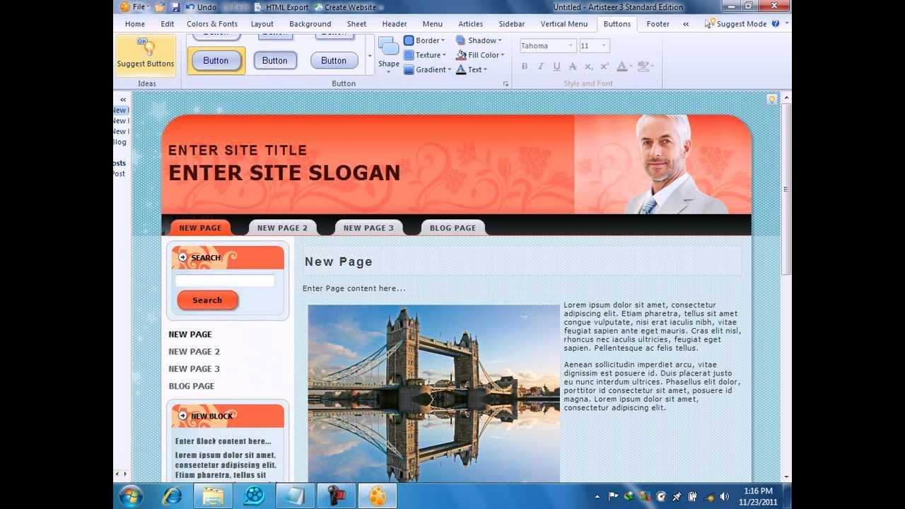 1- شرح برنامج Artisteer Explain  لتصميم المواقع How to Design Website