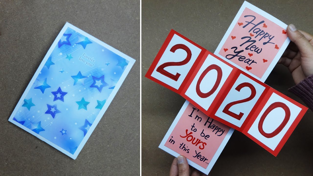 How To Make Happy New Year Card 2020 New Year Greeting Cards Latest Design Handmade