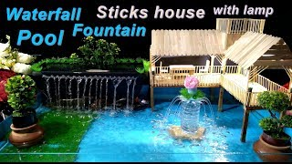 How to make Pool with Waterfall Fountain and ice cream sticks House