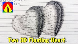 How to Draw two 3D floating Heart shape - Easy 3D Drawings for Kids