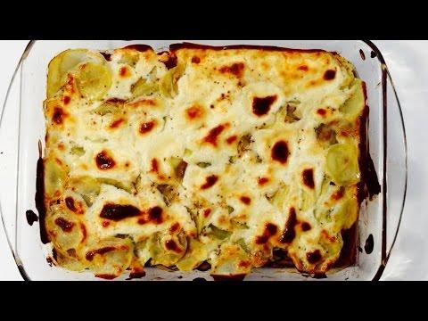 gratin-de-pommes-de-terre,-chorizo,-courgettes,-et-vache-qui-rit