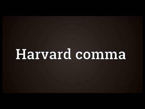 Harvard comma Meaning