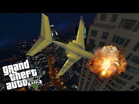 HUGE NOOB CRASHES $10,000,000 JET! (GTA 5 FUNNY MOMENTS)