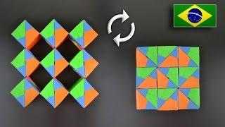 Origami: Cubos Dançarinos (Sonobe 54 peças) - Instruções em Português BR