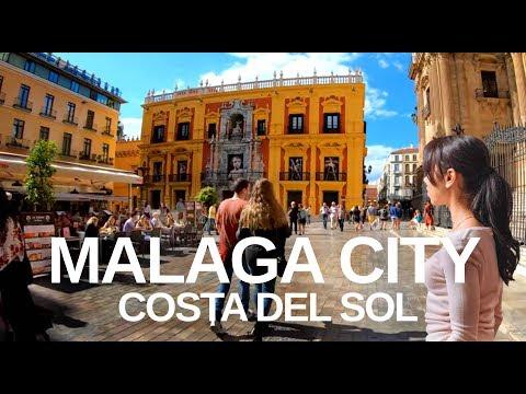 [4K] MALAGA, COSTA DEL SOL - City Walk (captions)