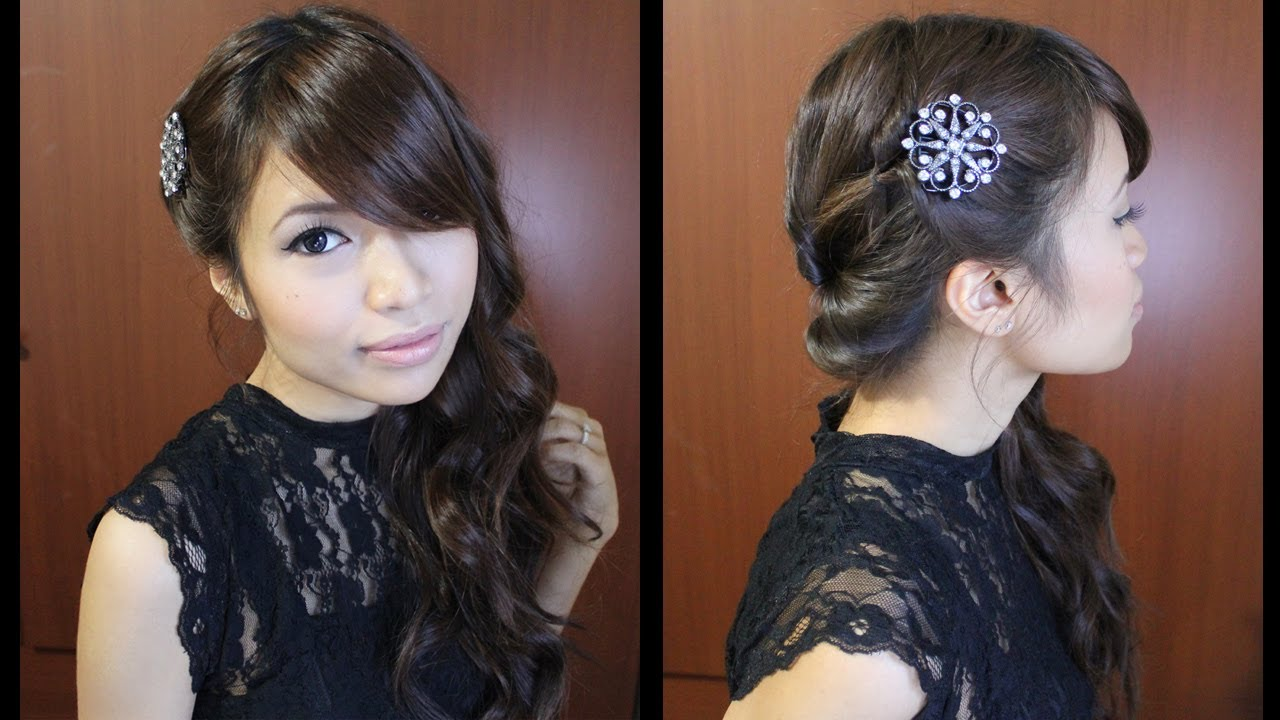 looped side swept prom hairstyle