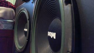 My crazy mach 5000 speakers. they have 15 inch woofers, 6 ferrofluid cooled midranges, and two 3.5 horn tweeters. enjoy :) rememb...
