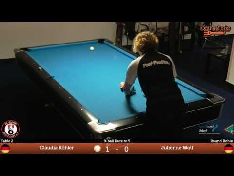 Claudi Köhler v Julienne Wolf | Round Robin | Ladies GP 9-ball 2017 | BC Colours Düsseldorf