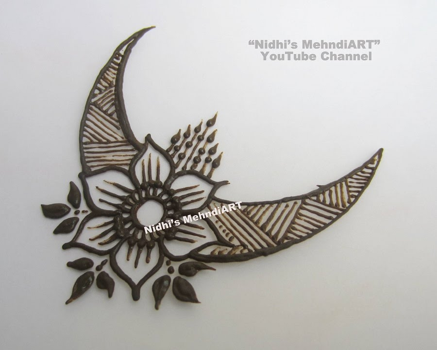 Simple Floral Moon Patch Henna Mehndi Design Tutorial Youtube