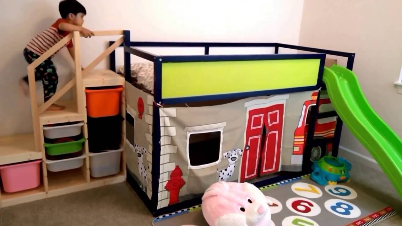ikea kura bed hack - fire engine play and slide structure - youtube