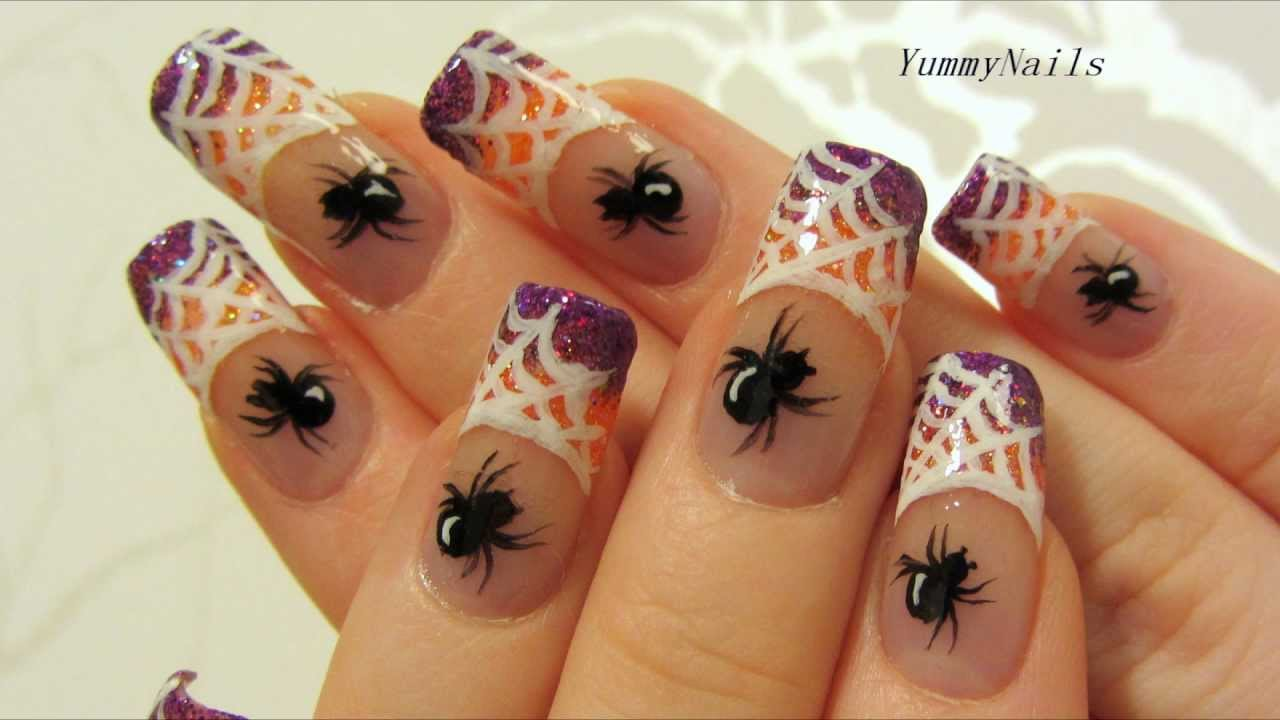 Spiderweb on Purple and Orange Glitter Halloween Design Nail Art ...