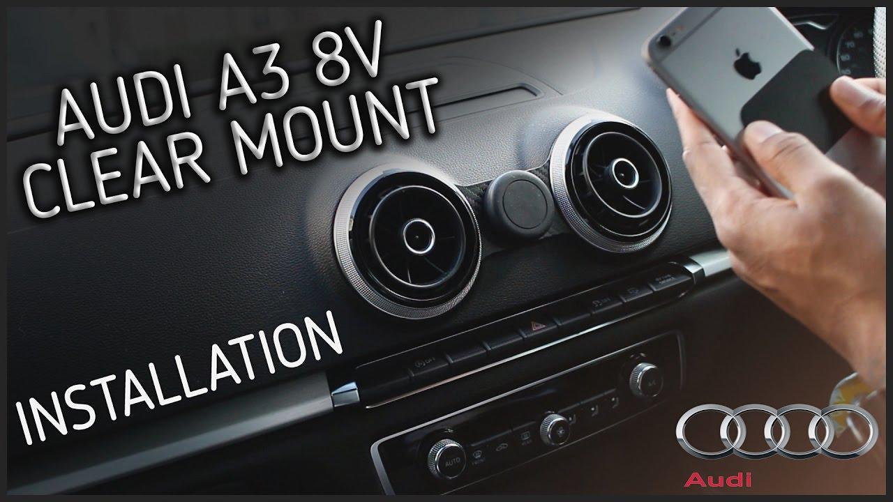 clear mount magnetic phone holder audi a3 8v 2013. Black Bedroom Furniture Sets. Home Design Ideas