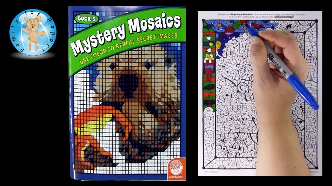 mindware mystery mosaics book 5 color counts coloring page review family toy report youtube - Mosaic Coloring Book
