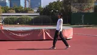 High jump drill - Demo of leg and foot placement at take off