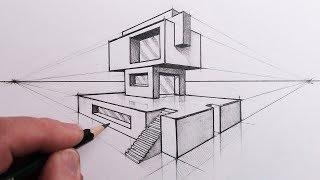 Learn How to Draw a Building with Steps in 2-Point Perspective in t...