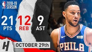 Ben Simmons Full Highlights 76ers vs Hawks 2018.10.29 - 21 Pts, 12 Reb, 9 Assists!