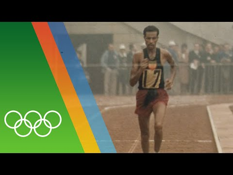 Abebe Bikila wins Marathon barefooted   Epic Olympic Moments