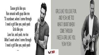 Girls Like You - Maroon 5 VS Boyce Avenue(With Lyrics)