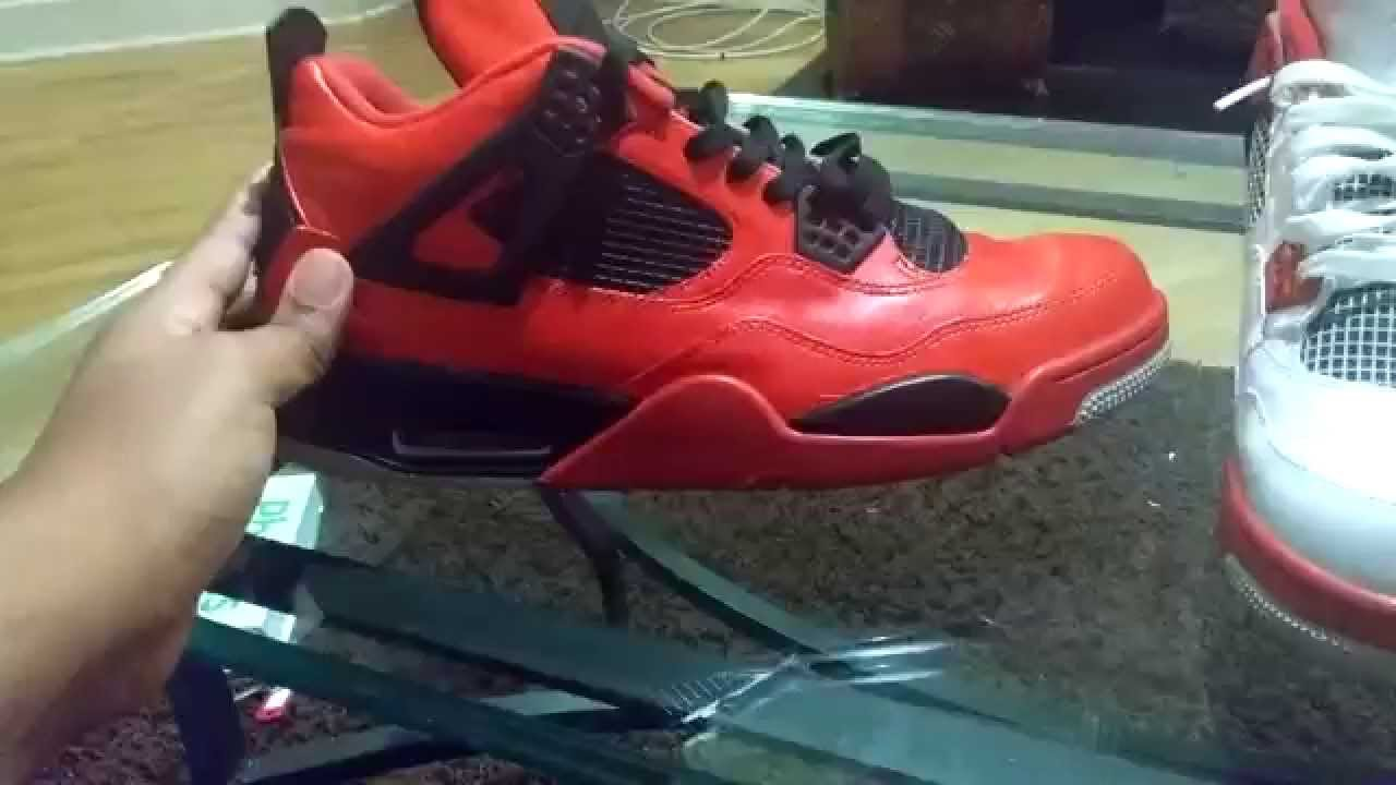 82ec781c9ad8f7 Nike Air Jordan retro 4 fire red custom - YouTube