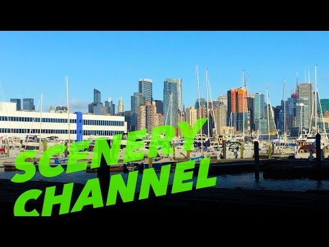 4K SCENIC Water Front Harbor New Jersey NYC Skyline