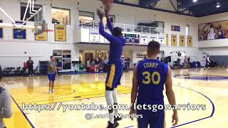 Steph Curry & Kevin Durant shooting around after Warriors practice, day before season opener vs HOU