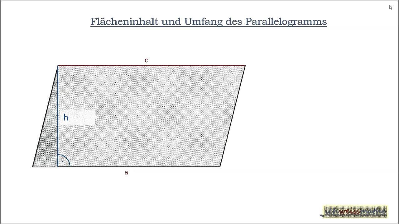 umfang fl cheninhalt parallelogramm youtube. Black Bedroom Furniture Sets. Home Design Ideas