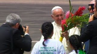 Pope Francis lands in Peru's Amazon