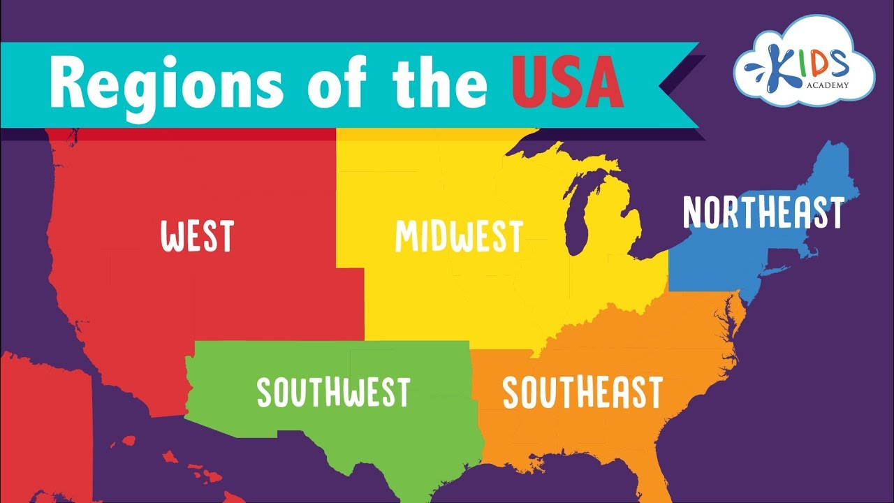 medium resolution of 5 Regions of the United States for Kids   Geography for Children   Kids  Academy - YouTube