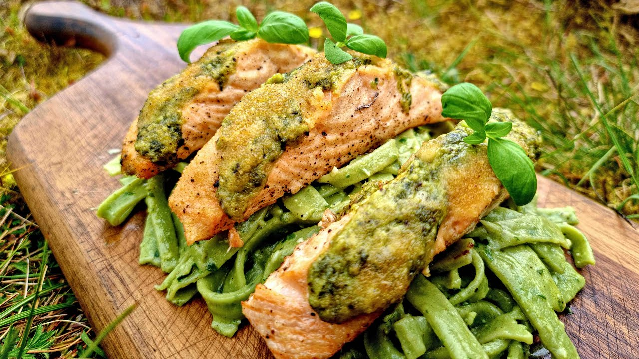 Boys will be Boys😎 Green Pesto Pasta with Salmon. ASMR Off-road Cooking.