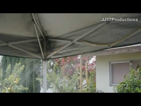 DIY Orbit Mister Install on EZ Up Canopy. Drop the temp 20F with cool mist