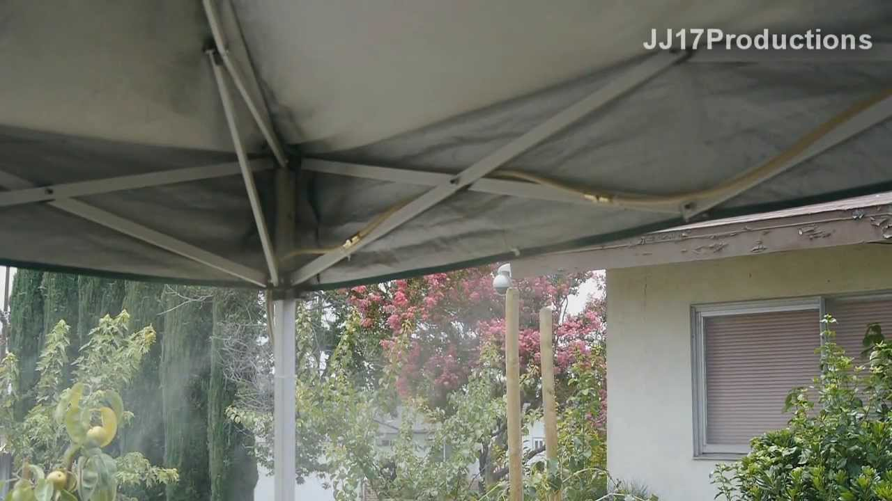 diy orbit mister install on ez up canopy drop the temp 20f with