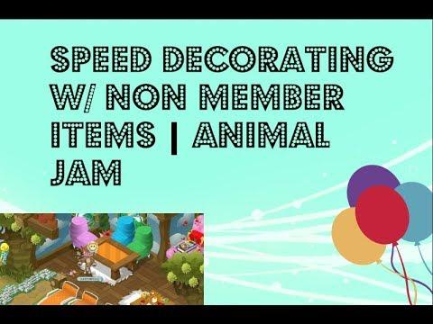 Speed Decorating w/ Non Member Items.   Animal Jam