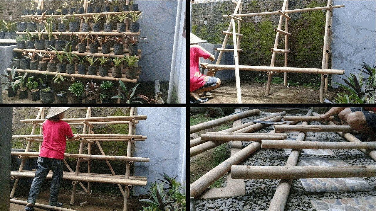 Cara Membuat Rak Tanaman Bertingkat Dari Bambu Youtube