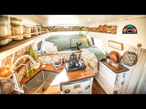 Her Bohemian Camper Van Tiny House - Solo Female Van Life On The Road