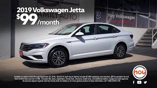Hoy Volkswagen $99/mo Sept Lease Special on the All-New 2019 Jetta