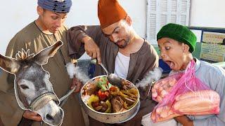 الحاج بسيونى فتح مطعم كبدة حمير وهما بياكلوا الحمار نهق شوف حصل لهم ايه !