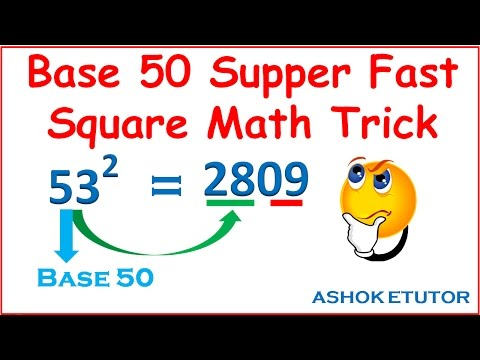 Fast Square Math Trick // Supper Fast Mental Square Of Any Number Math Trick By Using Of Base 50 -
