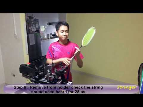 Badminton Racket restring services in Singapore -String BG66 Ultimax with 28lbs