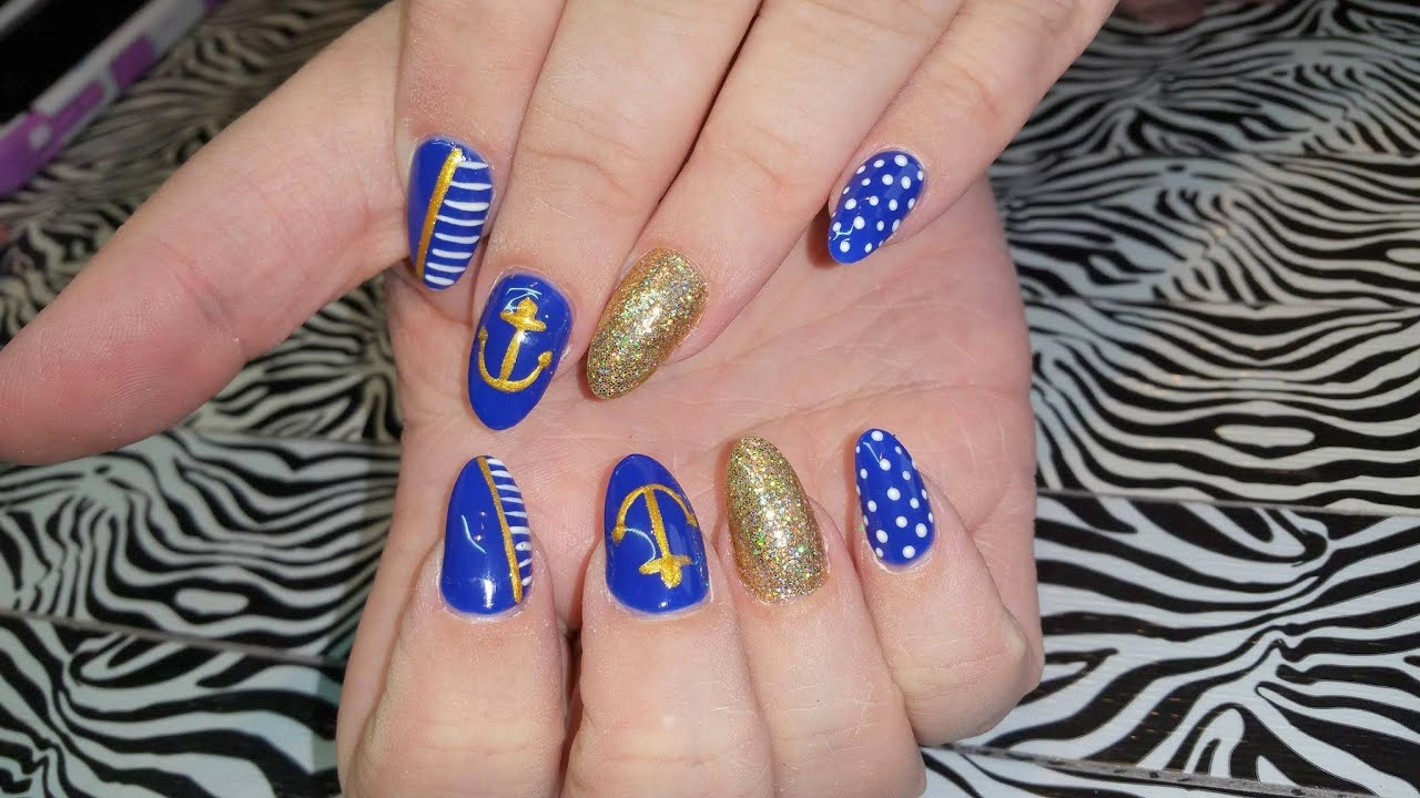 Acrylic Nails L Nautical But Nice Nail Design