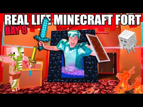 real-life-minecraft-box-fort!-24-hour-challenge-day-8---going-to-the-nether!