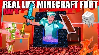 Real Life MINECRAFT Box Fort! 24 Hour Challenge DAY 8 - GOING To The NETHER!