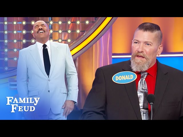 Steve Harvey loses his mind over Donald's answer! | Family Feud
