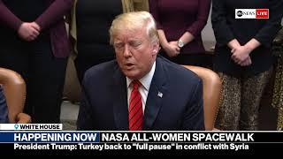 President Trump speaks with NASA officials ahead of historic spacewalk