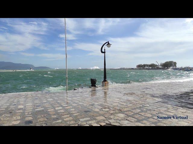 Extreme south storm hits Pythagorio, Samos (again!). Πυθαγόρειο Σάμος: φουρτούνα στο λιμάνι!