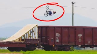 STUNTS ON A TRAIN!