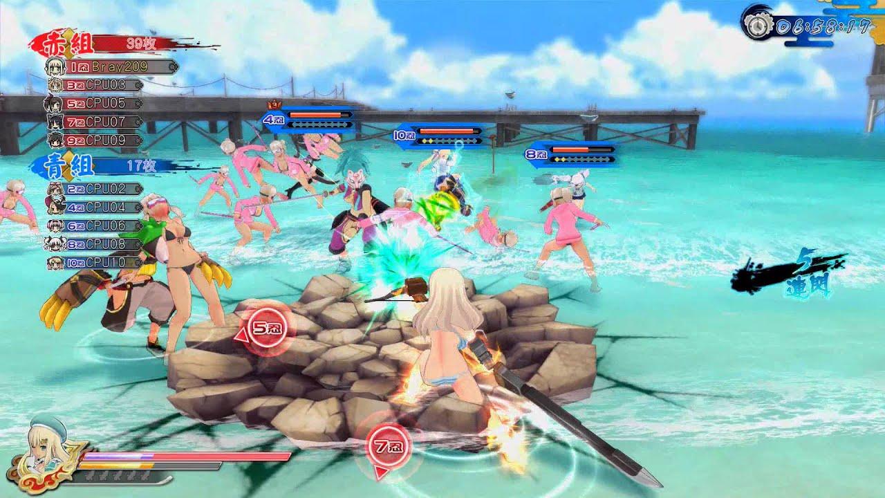 Cena de gameplay, com ninjas na praia em roupas de banho