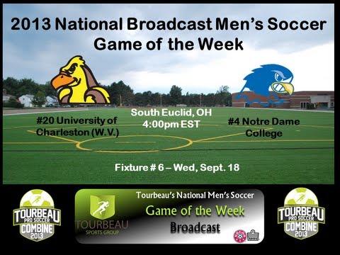 #20 Univ of Charleston (WV) at #4 Notre Dame (OH)- Men's Soccer- Wednesday, Sept 18 at 4:00pm EST